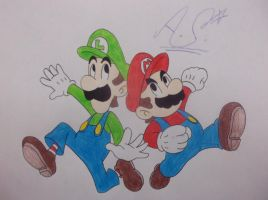 Mario and Luigi by girlofhearts101