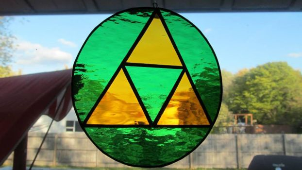 Zelda Triforce - Green Stained Glass by captivefancy