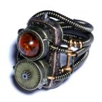 Steampunk Cosplay Ring - Clock parts and Amber by CatherinetteRings