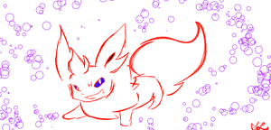 Flareon with Bubbles by flarechess