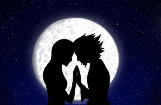silhouette of love. (commission) by Pink--Reptile