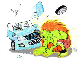 Street Fighter - Blanka Vs. Car by Rocket-Stevo
