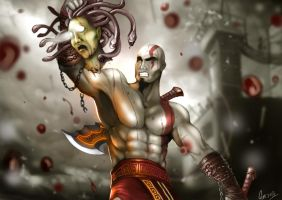 kratos vs Medusa by gothicmalam91