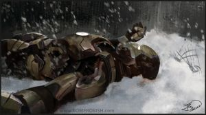 Iron Man Lying down Finished by Tomahawk-Monkey