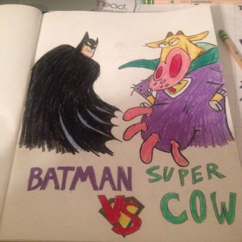 Batman vs Supercow by dragonman12