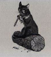 Folk musician cat by Esquirol