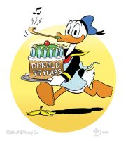 Donald Duck with cake by TedJohansson