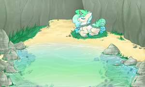 Xana and Cabbys pond by Ruef-Bae