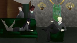 Slytherin Common Room by asgaardian