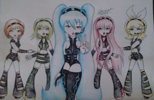 Miku, Luka, Rin, Mieku and Gumi Vocaloid by DeadGotashi
