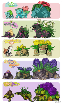 Bulbasaur Family Variants by athelo