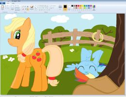 Applejack and Rainbow Dash in Paint by sallycars