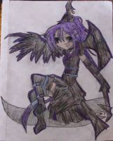 girl sitting on a scythe by pandababy28