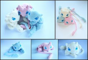 Mew Brothers - Pokemon Handmade Plushies by Lavim