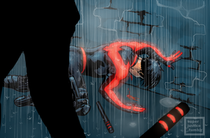 Nightwing in the Rain by Kingofthieves