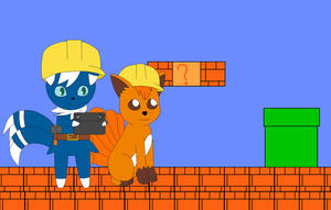 Super Mario Maker - Meowstic and Vulpix by Kitsune257