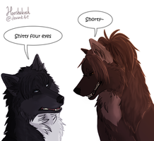 The Short Wolf and The Four Eyed Wolf by Hooshakosh