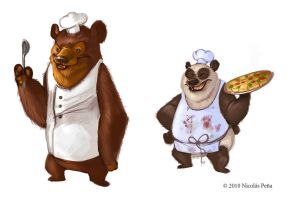 sketch, Bears cooks by Amisgaudi