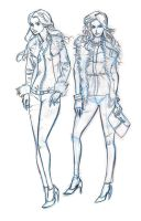 Col erase blue and hb pencil fashion babes by southpawdragon