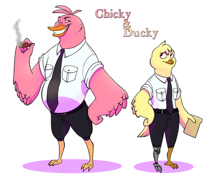 Chicky and Ducky by ScribbleBoxFox