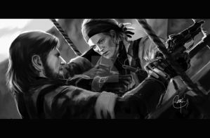 Naked Snake vs The Boss by Nia90