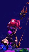 Squids vs Octos by TamarinFrog