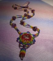 Rainbow Mandala Peyote Stitch by starsunflower