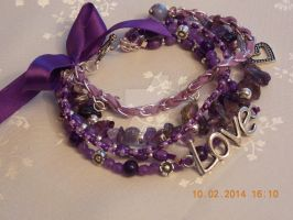 Purple love charm multi-strand bracelet by Quested-Creations