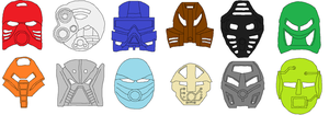 First Bionicle Kanohi Masks by G-DaggerX105