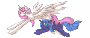Celestia and Luna: Flying Lessons by Virizionn