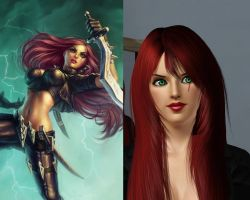 The Sims3 vs. League of Legends: Katarina by chiko-san