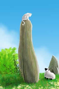 Cat on a Standing Stone by Steventon
