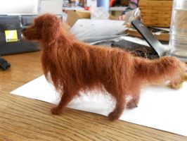 Needlefelted retriever by Lupineleigh