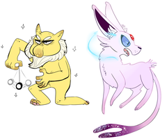 Espeon and Hypno by TSRings