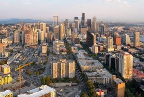 Seattle at Sunset by TomGreenPhotos