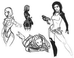 Sketch Dump 5: Mass Effect Ladies by oliverkrings