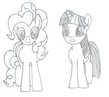 Pinkie and Twilight Sketch by urimas