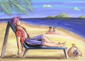 Relaxation: At the Beach by lauraneato