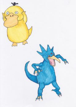 Psyduck+Golduck by sezzac155