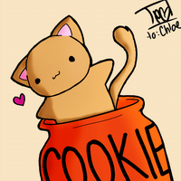lineart-coloreado kitty in jar by Posianino