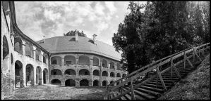 Grad castle on Goricko - inner yard panorama by easwee