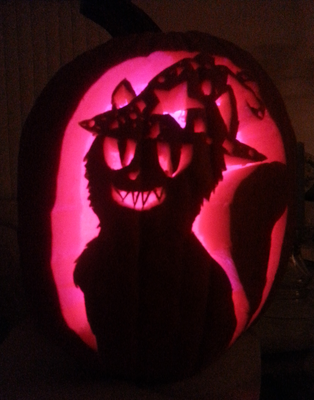 Witch Cat Sarah Pumpkin Carving by SolarWolf31
