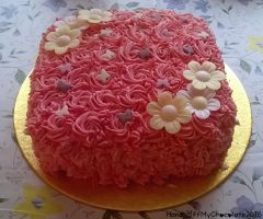 Butterfly Rosette Cake by HandsOffMyChocolate