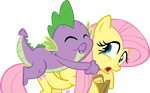 Spike Hugs Fluttershy by FrankRT
