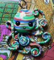 Curly Tentacled Striped Octopus Necklace by BlackMagdalena