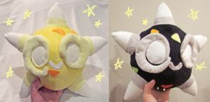 Shiny and yellow Minior core plushies by scilk