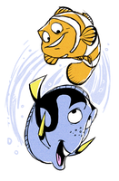 Marlin and Dory by Kilo-Monster
