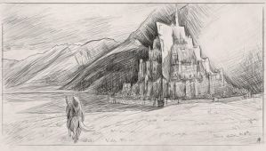 Minas Tirith sketch by rpowell77