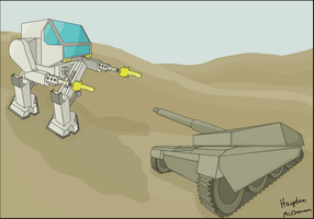 Mecha Vs. Tank by DarkDrako