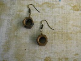 Steampunk Industrial Antiqued Nut Earrings by bcainspirations